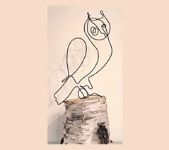 "Owl #4 8"" h x 4"" w on birch base"