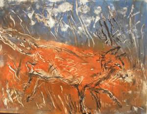 Marcia McEachron Monotype Print titled Foxfire